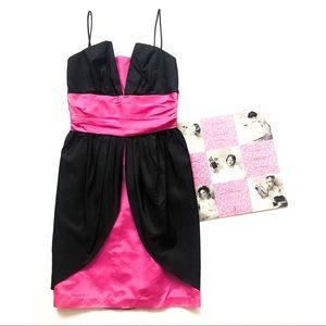 80's Deco Black & Pink Taffeta Cocktail Dress